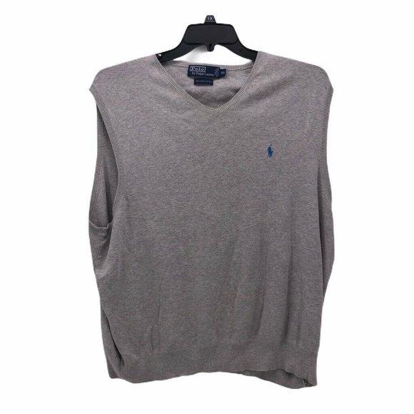 Polo By Ralph Lauren Mens Sweater Vest Gray Sz 2XL